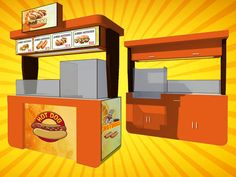 People of all ages love hot dogs, you can find hot dog food cart at fairs, malls, and theme parks, etc. Mobile Food Cart, Food Trailer, Food Truck, Hot Dogs, Dog Food Recipes, Concept, Meat, Food Carts, Food Carts
