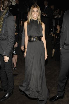 Carine Roitfeld in a Lanvin SS08 gown. Love the belt with the dress