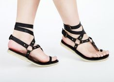 Flat Leather sandals. Ankle wrapping, High End quality, very comfortable black and brown on Etsy, $168.00