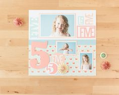 Days and Dates Cricut Image Set -- Five Year Old Scrapbook Layout Page. Make It Now in Cricut Design Space