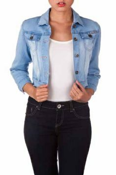 Fun Cropped Light Wash Denim Jacket!