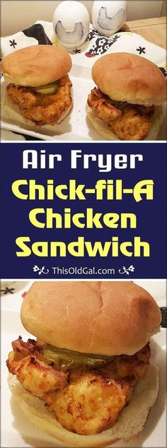 This Air Fryer Chick-fil-A Chicken Sandwich copycat recipe can be made at home, for less calories and fat, then from the restaurant. via recipes chick fil a salad Air Fryer Chick-fil-A Chicken Sandwiches Air Fryer Recipes Potatoes, Air Fryer Oven Recipes, Air Frier Recipes, Air Fryer Dinner Recipes, Air Fryer Chicken Recipes, Roast Beef Sandwich, Chicken Sandwich Recipes, Gourmet Sandwiches, Breakfast Sandwiches