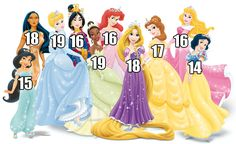 Behold, the Disney princess ages: | How Old Are The Disney Princesses? || None of the Disney princes have official ages. The only prince we can really assign an age to is John Smith, who was 27 when he encountered Pocahontas' tribe. Of course, the real Pocahontas wasn't 18 in 1607 — she was 12.