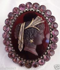 Victorian amethyst cameo, gold earring detail
