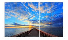 Bridge Under the Sunset - Huge Canvas Wall Art - 5 Panels Seascape Modern Landscape Picture Prints - Stretched and Framed by AnthonyNcrafts on Etsy