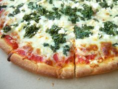 Spinach and feta pizza.