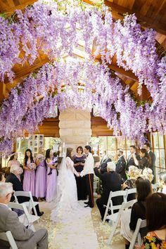 Hanging wisteria - AMAZING!  ~  we ❤ this! moncheribridals.com  #weddingceremonydecorations