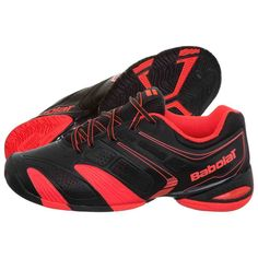 Red and Black Tennis Shoes