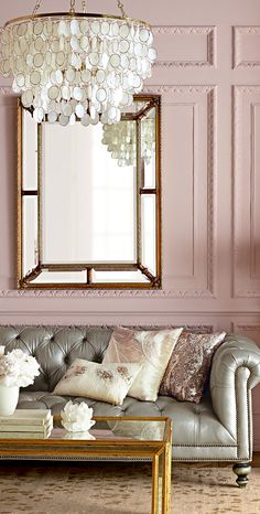 Pinky Pleasures~ Pale Pink Pastels With Silver Grey And Ivory Create An Elegant And Soothing Living Room To Immediately Relax In.