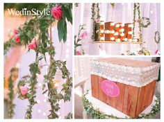 Rustic wedding decorations | Wood cash box decorated with pink tag and lace | Bride & groom's logo | By WedinStyle in Vietnam