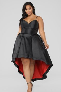 Plus Size Women Dresses Info: 7959434514 Looks Plus Size, Plus Size Model, Curvy Girl Fashion, Plus Size Fashion, Plus Size Womens Clothing, Plus Size Outfits, Size Clothing, Red High Low Dress, Dress Black