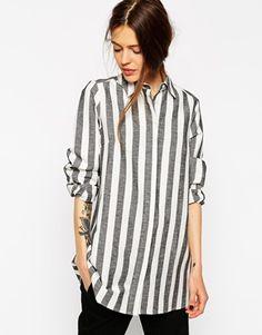 ASOS Black And White Open Back Stripe Shirt