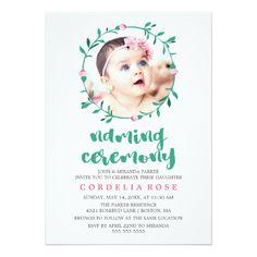 Baby naming ceremony invitation graphic design pinterest rosebud wreath pink green naming ceremony invitation stopboris Image collections