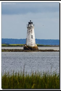 Cockspur Lighthouse marks the entrance to the Savannah River, Georgia, USA.