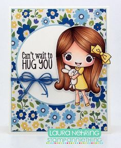 Check out DT Laura's super sweet card using Melanie ~ Need a Hug?  #stampanniething #rubberstamps #copics #copicmarkers #cardmaking #chibistamps #bunny #hugs