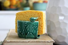Kitchen Sponge Holder with Little Bird - 16 Color Choices - French Country Home Decor - MADE TO ORDER