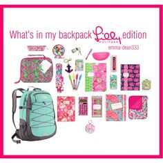 What's in my backpack Lilly Pulitzer edition Make School, School Daze, School Stuff, Backpack Essentials, School Essentials, College Supplies, Back To School Supplies, What's In My Backpack, Middle School Outfits