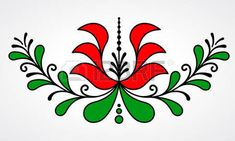 Hungarian Embroidery Patterns Traditional Hungarian floral motif with stylized leaves and. Hungarian Embroidery, Learn Embroidery, Crewel Embroidery, Embroidery Patterns, Stitch Head, Chain Stitch Embroidery, Stock Foto, Motif Floral, Embroidery Techniques