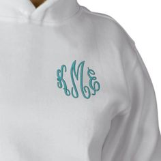 Turquoise Script Embroidered Monogram Hoodies