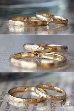 槌目のマリッジリング。女性はリンクの表面に、男性はリングの内側に星型の飾り留めを施しました。 [結婚指輪,オーダーメイド,marriage,bridal,wedding,ring,K18,Gold,イズ,ith]