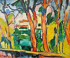 Les Arbres Rouges (The Red Trees), 1906 //by Maurice de Vlaminck Andre Derain, Henri Matisse, Raoul Dufy, Kunst Online, Online Art, Abstract Landscape, Landscape Paintings, Art Fauvisme, Fauvism Art
