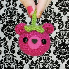 Bearies are cute displayed as a bunch in a bowl, made into keychains, or even used as Christmas ornaments! They're a bit larger than the size of an egg. They're made from a sparkly yarn and their tops are made from a bright green yarn (green sparkle will have a dark green top for better contrast)...