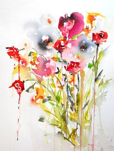 Buy Garden scene, a Watercolor on Paper by Karin Johannesson from Canada. It portrays: Floral, relevant to: peonies, roses, tulips, red flowers, pink flowers Garden scene