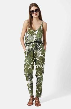 Topshop Palm Leaf Print Jumpsuit available at #Nordstrom