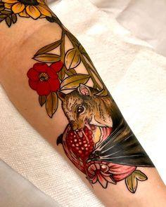 A hungry fruit bat munchin on some pomegranate done by Robert J in Jacksonville Beach FL Pomegranate Tattoo, Jacksonville Beach Fl, Fruit Bat, R Tattoo, Professional Tattoo, Nature Tattoos, Irezumi, Drawings, Artist