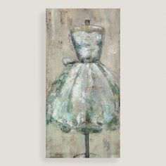Gorgeous as girls' bedroom decor or a fashion-forward addition to any room, this impressionistic rendering of a blue-toned gown on a dress form makes a stylish statement.