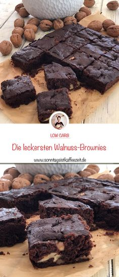 walnuss-brownies-low-carb-und-zuckerfrei/ - The world's most private search engine Healthy Party Snacks, Healthy Snacks For Diabetics, Vegan Snacks, Brownie Recipes, Cake Recipes, Baking Recipes, Snack Recipes, Dessert Recipes, Snacks Under 100 Calories