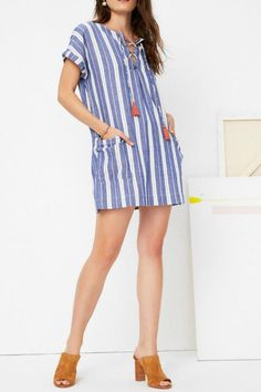 This stripe tunic by Tularosa features lace up detail with two hanging tassels, rolled short sleeves and two front oversized pockets.   Warren Tunic by Tularosa . Clothing - Dresses - Casual Clothing - Dresses - Mini Canada