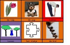 Kaartjes met woorden met de klank /u/ met woord erbij Spelling, School, Games