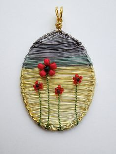 Poppies Under a Stormy Sky wire wrapped por LouiseGoodchild en Etsy, £29,00
