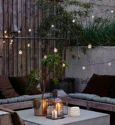 Festoon Lights by Loop the Loop House Doctor, Outdoor Gardens, Indoor Outdoor, Outdoor Decor, Balcony Lighting, Terracotta Flower Pots, Small Terrace, Globe String Lights, Light String