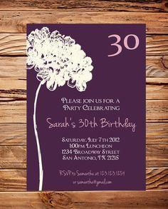 30th Birthday Invite, 40th, 50th Birthday, Adult Flower Birthday, Ivory Flower, Purple Event Invitation, Milestone Birthday Invite(Item3004) Etsy $21