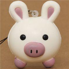 white pig rabbit squishy cellphone charm