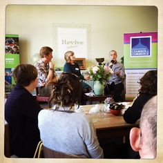 Toby from Leading the Change interviewing Christine & Joel at the Brighton Chamber Pop up breakfast event held in our Cafe April 2015