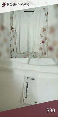 American Apparel Basic White V-Neck Tee Great condition American Apparel Tops