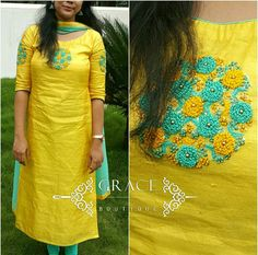 WhatsApp 9035330901 for hand embroidery dress materials customization. (No COD, No wholesale). Embroidery On Kurtis, Hand Embroidery Dress, Kurti Embroidery Design, Embroidery Neck Designs, Salwar Neck Designs, Kurta Neck Design, Dress Neck Designs, Kurta Designs Women, Chudidhar Designs