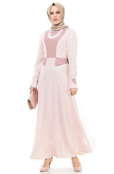 Nursima Yaka Detaylı Abiye Elbise-Pembe 425-42