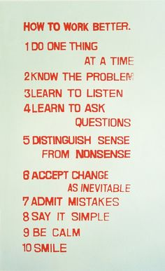 How to Work Better by Fischli and Weiss, 1991