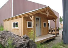 12x20 Gable Cabin. Example shows optional 4 season package, skinned hemlock posts + overhead detailed entryway. Many options available for Fully Assembled Cabins - delivering in the northeast.  http://jamaicacottageshop.com/shop/apple-blossom-cottage/ #jamaicacottageshop