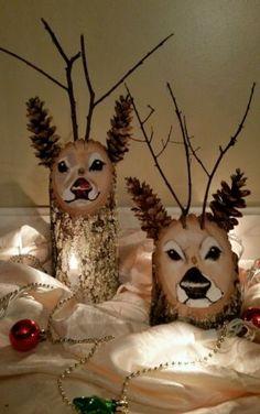 Handmade-Reindeer-Log-decorations-Christmas-holiday-Rustic-centerpiece
