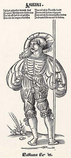 Title: Büttner als Landsknecht              Tags: Katzbalger, Kuhmaul shoes, Hat, Küse, Landsknecht              Date: 1st half of 16th Century                        Artist: Niklas Stör              Provenance: Germany              Collection: Germanisches Nationalmuseum