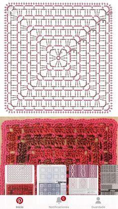Granny square - Top Of The World Motifs Granny Square, Granny Square Crochet Pattern, Crochet Diagram, Crochet Chart, Crochet Squares, Crochet Granny, Crochet Doilies, Crochet Stitches, Knit Crochet