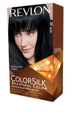 Revlon® ColorSilk Beautiful Color™. LONG LASTING, MULTI-DIMENSIONAL COLOR AND SHINE. My Shade: 10 BLACK .