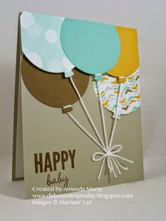 I am just loving the Celebrate Today & matching Balloon framelits!  Balloons are appropriate for so many special occasions.  I wanted to make a card using the more masculine color combination from th