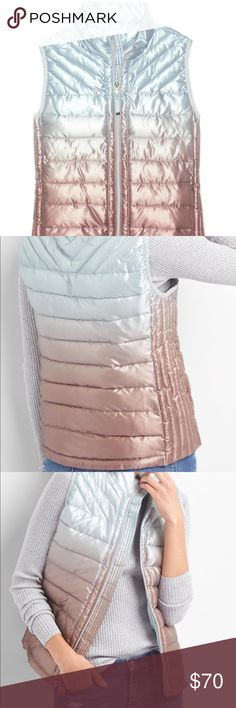 Gap ombré vest Gap ombré rose gold lite puffer vest. Fully lined quilted shell. Hits at the hip. On seam pockets. Great for fall 🍁🍂🍁🍂. Brand new with tags GAP Jackets & Coats Puffers
