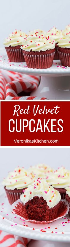 Red Velvet Cupcakes with cream cheese frosting is a perfect St. Valentine's Day recipe to surprise your loved ones. These easy to make from scratch cupcakes will become your favorite! (desserts | dessert recipes | cupcakes | cupcakes ides | cupcake recipes | st valentines desserts )